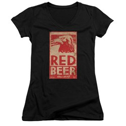 Archer - Juniors Red Beer Label V-Neck T-Shirt