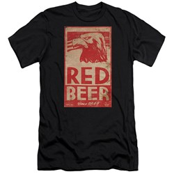 Archer - Mens Red Beer Label Premium Slim Fit T-Shirt