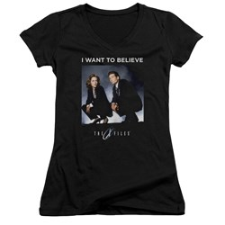 X Files - Juniors Want To Believe V-Neck T-Shirt