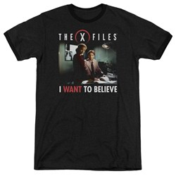 X Files - Mens Believe At The Office Ringer T-Shirt
