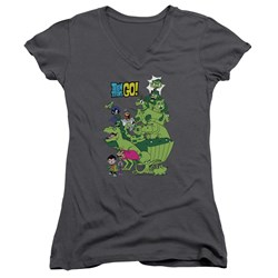 Teen Titans Go - Juniors Beast Boy Stack V-Neck T-Shirt