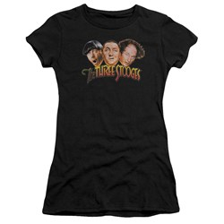 Three Stooges - Juniors Three Head Logo Premium Bella T-Shirt