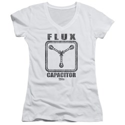 Back To The Future - Juniors Flux Capacitor V-Neck T-Shirt