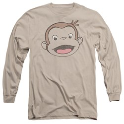 Curious George - Mens Heathered George Long Sleeve T-Shirt