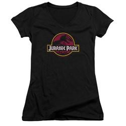 Jurassic Park - Juniors 8-Bit Logo V-Neck T-Shirt