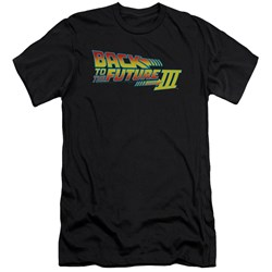 Back To The Future Iii - Mens Logo Premium Slim Fit T-Shirt