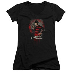 Nightmare On Elm Street - Juniors This Is God V-Neck T-Shirt