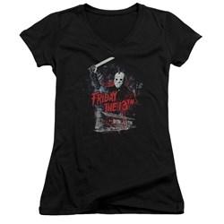Friday The 13Th - Juniors Cabin V-Neck T-Shirt