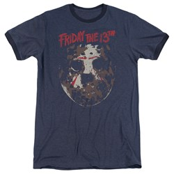 Friday The 13Th - Mens Rough Mask Ringer T-Shirt