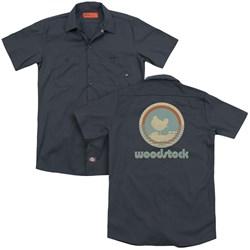 Woodstock - Mens Bird Circle (Back Print) Work Shirt