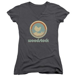 Woodstock - Juniors Bird Circle V-Neck T-Shirt