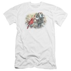Wildlife - Mens Cardinals Rustic Retreat Premium Slim Fit T-Shirt