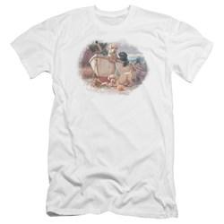 Wildlife - Mens Lunch Break Lab Pups Premium Slim Fit T-Shirt