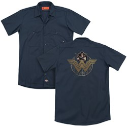 Wonder Woman Movie - Mens Power Stance And Emblem (Back Print) Work Shirt