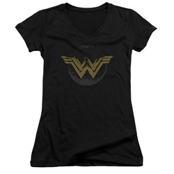 Wonder Woman Movie - Juniors Distressed Logo V-Neck T-Shirt