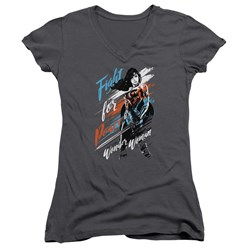 Wonder Woman Movie - Juniors Fight For Peace V-Neck T-Shirt