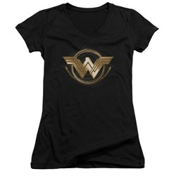 Wonder Woman Movie - Juniors Lasso Logo V-Neck T-Shirt