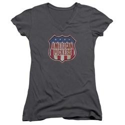 American Pickers - Juniors Vintage Sign V-Neck T-Shirt