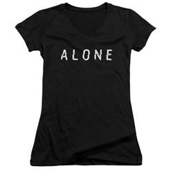 Alone - Juniors Alone Logo V-Neck T-Shirt
