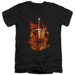 Forged In Fire - Mens Sword In Fire V-Neck T-Shirt