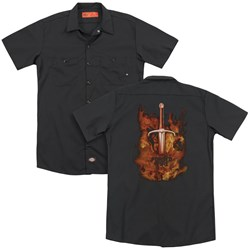 Forged In Fire - Mens Sword In Fire (Back Print) Work Shirt