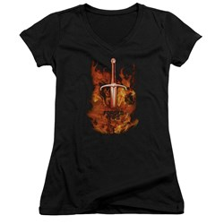 Forged In Fire - Juniors Sword In Fire V-Neck T-Shirt