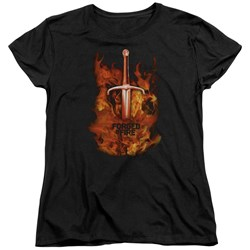 Forged In Fire - Womens Sword In Fire T-Shirt