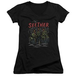 Seether - Juniors Mind Control V-Neck T-Shirt