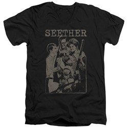 Seether - Mens Happy Family V-Neck T-Shirt