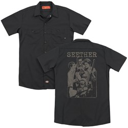 Seether - Mens Happy Family (Back Print) Work Shirt