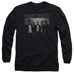 Night Riots - Mens Greyscale Long Sleeve T-Shirt