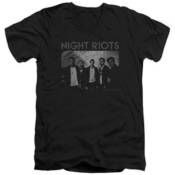 Night Riots - Mens Greyscale V-Neck T-Shirt