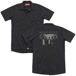 Night Riots - Mens Greyscale (Back Print) Work Shirt