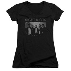 Night Riots - Juniors Greyscale V-Neck T-Shirt