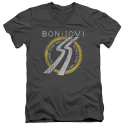 Bon Jovi - Mens Slippery When Wet World Tour V-Neck T-Shirt