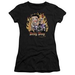 Betty Boop - Juniors Biker Flames Boop Premium Bella T-Shirt