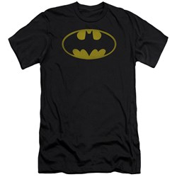 Batman - Mens Washed Bat Logo Premium Slim Fit T-Shirt