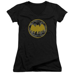 Batman - Juniors Vintage Symbol Collage V-Neck T-Shirt