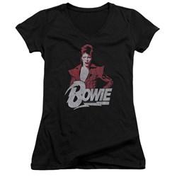 David Bowie - Juniors Diamond David V-Neck T-Shirt