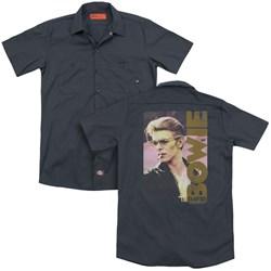 David Bowie - Mens Smokin (Back Print) Work Shirt