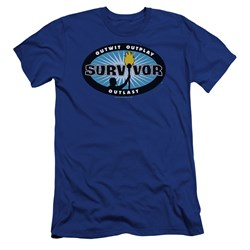 Survivor - Mens Blue Burst Premium Slim Fit T-Shirt