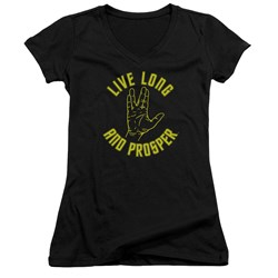 Star Trek - Juniors Live Long Hand V-Neck T-Shirt