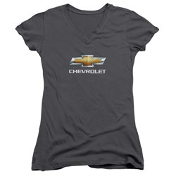 Chevrolet - Juniors Chevy Bowtie Stacked V-Neck T-Shirt