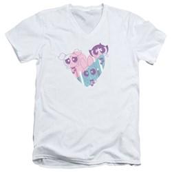 Powerpuff Girls - Mens Powerpuff Heart V-Neck T-Shirt