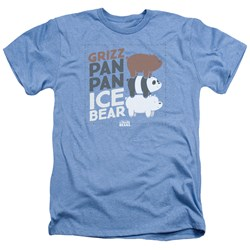 We Bare Bears - Mens Grizz Pan Pan Ice Bear Heather T-Shirt