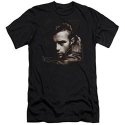 Dean - Mens Brown Leather Premium Slim Fit T-Shirt