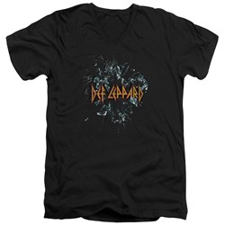 Def Leppard - Mens Broken Glass V-Neck T-Shirt
