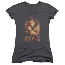 Elvis Presley - Juniors Stripes V-Neck T-Shirt