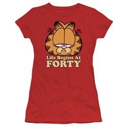 Garfield - Juniors Life Begins At Forty T-Shirt