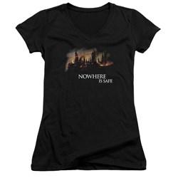 Harry Potter - Juniors Burning Hogwarts V-Neck T-Shirt